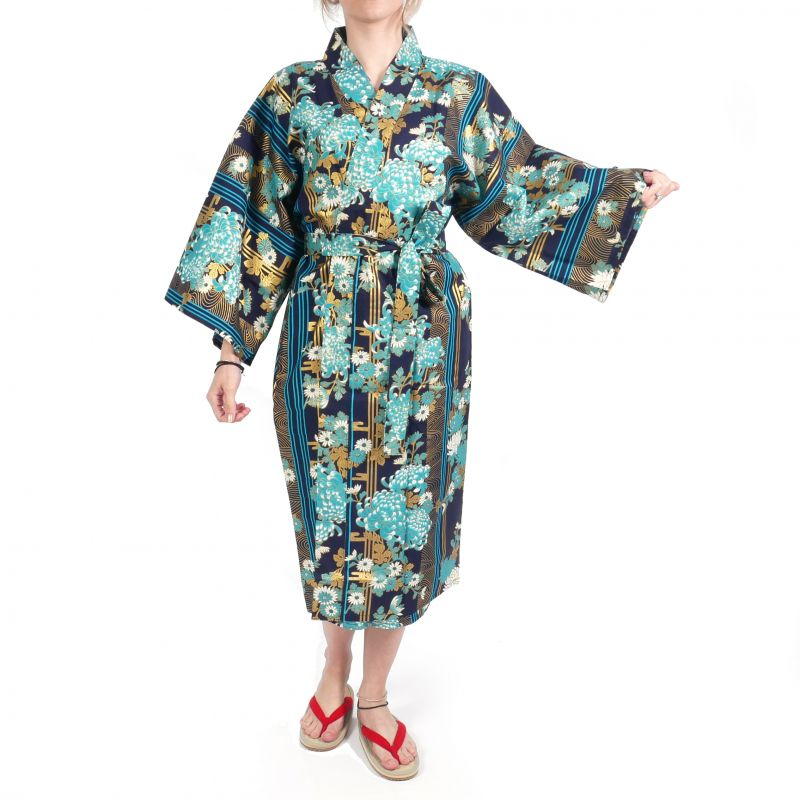 happi traditional japanese blue cotton kimono floral chrysanthemums for women