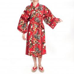 crisantemi floreali tradizionali kimono di cotone rosso giapponese Happi per donna