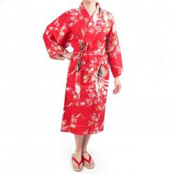 Kimono Happi tradizionale giapponese in cotone rosso ciliegia per donna