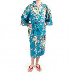 Kimono Happi tradizionale giapponese turchese cotone ciliegia principessa per donna
