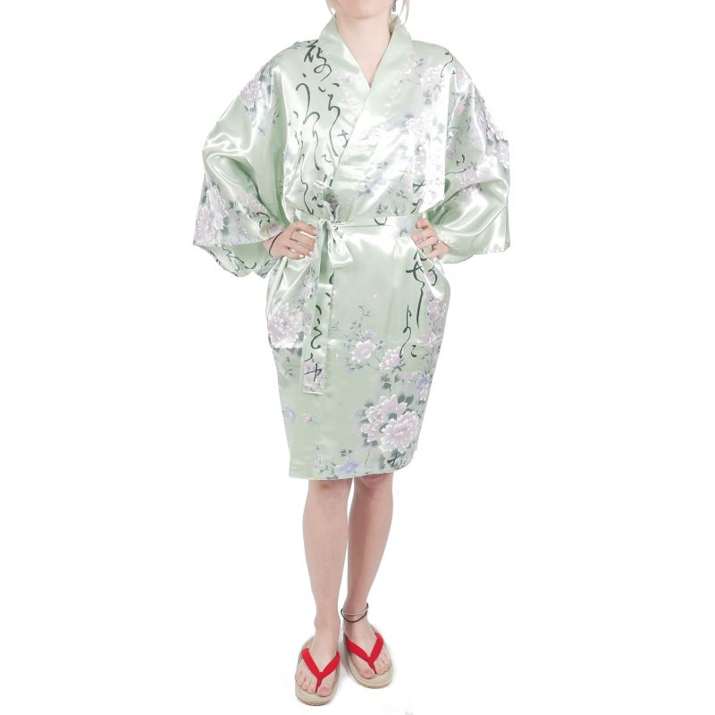 hanten traditional japanese turquoise kimono in satin poetry and flowers for woman
