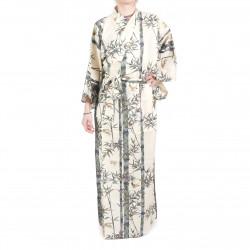 Japanese traditional white cotton yukata kimono bamboo and sparrow for women