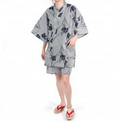 Japanese traditional gray blue cotton jinbei kimono stripes and iris flowers for women