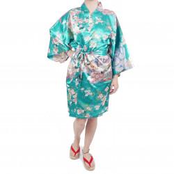Kimono hanten tradizionale turchese giapponese in dinastia poliestere sotto il fiore di ciliegio per donna