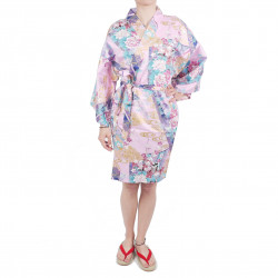 piccola principessa hanten tradizionale kimono giapponese in cotone rosa satinato per donna