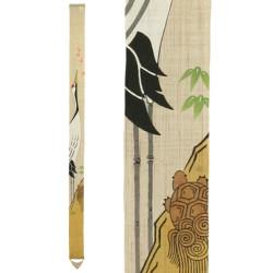 Arazzo di canapa giapponese finemente dipinto a mano, TSURUKAME SENMAN, La gru e la tartaruga
