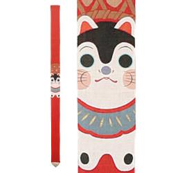 Fine hand-painted Japanese hemp tapestry, KOMAINU HARIKO