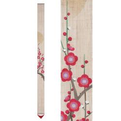 Fine hand-painted Japanese hemp tapestry, AKATOKI NO UME, Morning plum