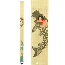 Raffinato arazzo giapponese in canapa dipinto a mano, KOINORI KINTARO, Kintaro Riding a Carp