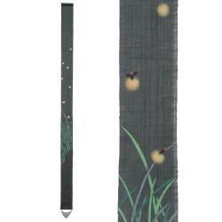 Fine Japanese tapestry in hemp, hand painted, HOTARU, Firefly