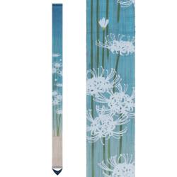 Fine Japanese tapestry in hemp, hand painted, SHIRO MANJUSHAGE, White Mandarin Pearl
