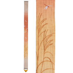 Arazzo di canapa giapponese finemente dipinto a mano, AKANE, madder