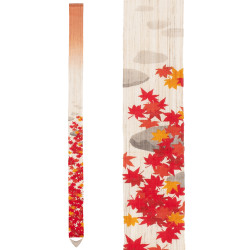 Fine Japanese tapestry in hemp, hand painted, MOMIJIGARI, Autumn leaves