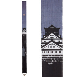 Fine Japanese tapestry in hemp, hand painted, SAMURAI