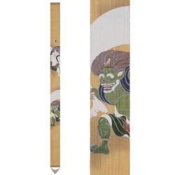 Fine Japanese tapestry in hemp, hand painted, FUJIN RAIJIN