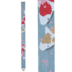 Fine Japanese tapestry in hemp, hand painted, NISHIKI KOII