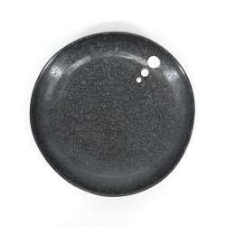 black ceramic Japanese deep plate, DOT, white dots, made in Japan