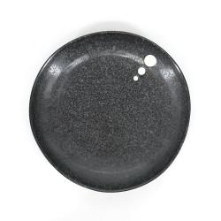 piatto fondo giapponese in ceramica nera, DOT, pois bianchi, prodotto in Giappone
