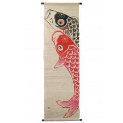 Tapiz de cáñamo, pintado a mano, KOIGOI, hecho en Japón