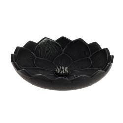 Japanese black cast iron incense burner, IWACHU LOTUS, lotus flower