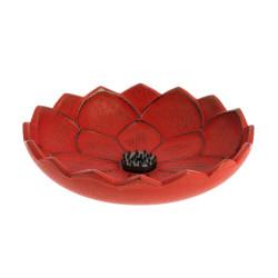 Quemador de incienso japonés rojo de hierro fundido, IWACHU LOTUS, flor de loto