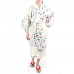 fiori di ciliegio bianco giapponese tradizionale Happi tradizionale in cotone bianco per donna