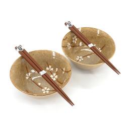 Set di 2 ciotole in ceramica giapponese - KURO SAKURA