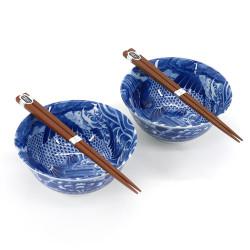 Japanese 2 ramen bowls set in ceramic with chopsticks MANEKINEKO red and blue