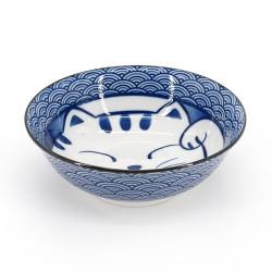 ciotola giapponese per spaghetti ramen di ceramica TOCHIRI TOKUSA, linee blu