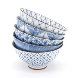Set of 5 Japanese blue and white ramen bowls - BORU SETTO