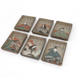 Set of 6 prestigious Japanese rectangular sushi plates - ISHIN, made in Japan
