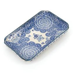 Japanese blue plate rectangular ceramic- HANA KARAKUSA