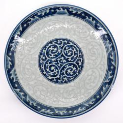 assiette ronde japonaise en céramique, KARAKUSA SEIGAIHA, vagues