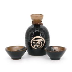 Servizio di sake 1 bottiglia e 2 tazze, TENMOKU, nero e kanji