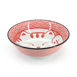 Japanese ceramic ramen bowl - AO MANEKINEKO - cat motif