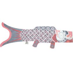 Koi carp-shaped windsock KOINOBORI silver