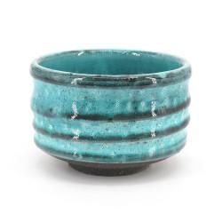 Japanese tea bowl for ceremony - chawan, MASHIKO, blue