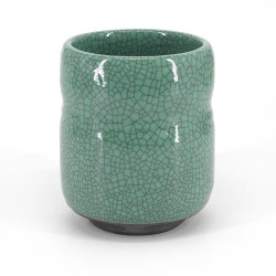 japanese turquois crackled effect teacup SUMI IRI HIWA USUGATA