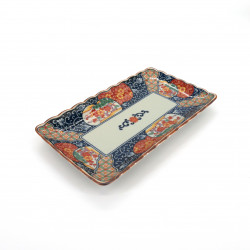 assiette rectangle japonaise en céramique, KOIMARI bleue et rouge