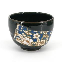 Ciotola da tè giapponese per cerimonia – chawan, HANA, fiori blu