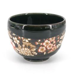Japanese tea bowl for ceremony - chawan, SAKURA, flowers