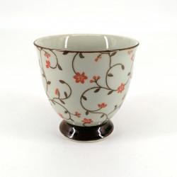 Taza de té japonesa de ceramica, SABI KARAKUSA rojo