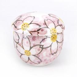 Traditional mug with cover - CHAWANMUSHI - iridescent sakura flowers