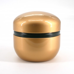 Japanese metal tea box, SUZUKO PAINT, gold