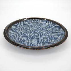 Japanese blue ceramic plate Ø25cm, SEIGAIHA, wave