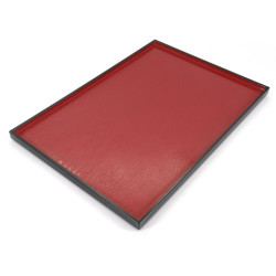 rectangular tray with adherent coating, DAIZU MOKUME BON, red