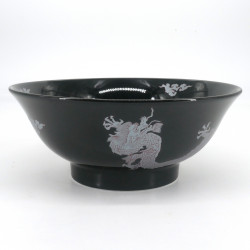 japanese noodle ramen bowl in ceramic Ø21cm Shirubādoragon, silver dragon