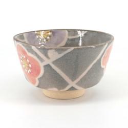 Ciotola per cerimonia del tè giapponese - chawan, SAKURA, grigia e rosa