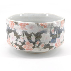 Japanese tea ceremony bowl - chawan, SAKURA, gray and white