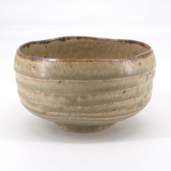 Japanese tea ceremony bowl - chawan, KHAKI, khaki green